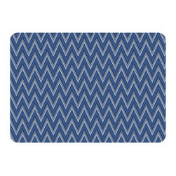 Bungalow Flooring - Premium Comfort Chevron Weave Mat, Navy - Woven polyester face captures colors and graphics in near photographic quality.