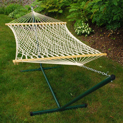 Algoma Net Company, Div. of Gleason Co - Cotton Rope Hammock and Stand Combination - Get everything you need for a relaxing summer in one complete package! This combo from Algoma Net pairs a cotton rope hammock with a powder-coated Green stand to bring you hours of enjoyment. Strong, comfortable and convenient for your indoor or outdoor pleasure.