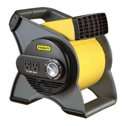 Lasko Products - Stanley Pivoting Utility Fan - Stanley Multi-Purpose Pivoting Utility Fan. Quiet high velocity power packed with features: three powerful speeds circuit breaker with Re-Set button rugged Easy-to-Carry Handle comes fully assembled and ready to work two 120 volt grounded outlets for accessory use etl listed includes a patented fused safety plug use in tight spaces where fresh air is essential work spaces attics basements and garages use in the home to dry carpets floors furniture and walls pivoting blower head blasts air where needed. This item cannot be shipped to APO/FPO addresses. Please accept our apologies.