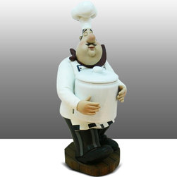 Fat Chef Kitchen Statue Figure Jar Holder Table Art Decor - Beautiful Kitchen Counter Table Top Art Decoration for the Italian Bistro Cook or Restaurant.