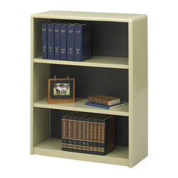 Safco - Value Mate Steel Bookcase w 3 Shelves in Sand - Ideal for storing records, research materials, documents and more, this three-shelf bookcase will be a versatile addition to any home or office decor. Made of steel in sand powder coat finish, the bookcase has a fiberboard back and will add storage and style to any space. Accommodate 3-ring binders and large publications. Generous 12 in. deep shelves. 24 ga. material thickness. Adjustable shelf with 1 in. increment. Shelf capacity 70 lbs.. Back is made of solid fiberboard. Made from steel. Powder coat finish. 31.75 in. W x 13.5 in. D x 41 in. H (30 lbs.). Assembly InstructionEconomical, sturdy and strong with the ValueMate Bookcases you can't go wrong! Exquisitely showcase photographs, keepsakes, literature and resources - and these shelves are perfect for larger publications and 3-ring binders! Make it functional or fun for your executive office, conference room, meeting areas, reception areas, waiting room, library, media center, sales offices and even your home office. These beautifully designed bookcases add the little extra that your workspace needs.