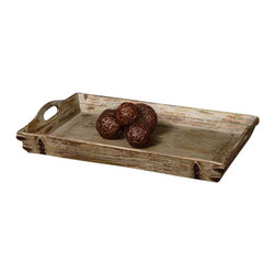 Uttermost Abila Wooden Tray - Heavily distressed, antiqued cream with natural fir wood undertones and antiqued bronze accents. Heavily distressed, antiqued cream finish with natural fir wood undertones and antiqued bronze accents. Cutout handles for ease of carrying.