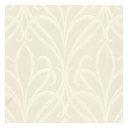 Brewster Home Fashions - Lalique Cream Nouveau Damask Wallpaper Bolt - The color is subtle but the design has a contemporary glamour. This art nouveau wallpaper swirls a romantic damask inspired motif onto walls enhanced by a radiant pearl luster.