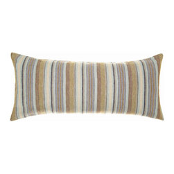 """Pine Cone Hill - Pine Cone Hill Treehouse Linen Double Boudoir Pillow - The Treehouse Linen Decorative Pillow combines the coveted look of crisp raw linen with the exceptional product quality that Pine Cone Hill is known for. Warm neutrals mixed with cool blues create a strong and distinct forest-meets-the-sea inspired look. The sharp elongated shape of the Decorative Pillow makes the perfect finishing touch to a well polished bed, and pairs delightfully with the Ink and Sable Chambray Linen pieces. This double boudoir pillow measures 15""""x 35"""" and is 100% linen."""