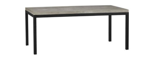 Concrete Top/ Natural Dark Steel Base 72x42 Parsons Dining Table - Start with a great base. Top it off with an eye-catching top. Voila—the perfect table. Hot-rolled steel frame supports with clean simple lines, hand-welded and ground at each corner to create a raw, torched millscale finish. Gorgeous warm grey concrete top mixes up a global compound sourced in Vietnam—marble, stone and granite from the mountainous Dalat region and grassy fibers from the Mekong Delta for added strength. Clean and modern material is also eco-friendly, handmade in shops powered without fossil fuels. Due to the handmade nature of the concrete mix, color will vary and may change over time. Seats eight.