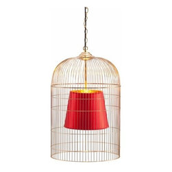 Zuo Lighting - Zuo Sprite Ceiling Lamp, Large Gold & Red - Our Sprite Large Ceiling Lamp makes simple look trendy with its unit shade. This interesting piece hangs from a wire. Add this striking piece to the kitchen, dinette, foyer or dining room for a warm ambiance.
