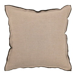 Eden Natural w/ Chocolate, Set of 2 - Beautifully handmade and hand woven, each pillow is made with a quality fill of 95% feather and 5% down. The Villa Home collection offers a variety of colors, textures and accents that will add a feeling of luxury to your home. The Eden pillow is 100% linen.