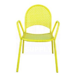 Bright Yellow Lattice Metal Chair - Dress up the patio with a few neon yellow chairs. They feel way more modern and cool than the dark, ho-hum patio furniture you can find anywhere.