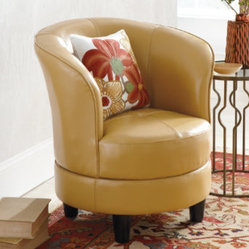 Rebecca Leather Swivel Chair - Grandin Road