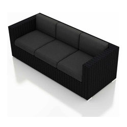 Urbana Modern Wicker Sofa, Henna Cushions