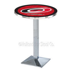 Holland Bar Stool - Holland Bar Stool L217 - Chrome Carolina Hurricanes Pub Table - L217 - Chrome Carolina Hurricanes Pub Table  belongs to NHL Collection by Holland Bar Stool Made for the ultimate sports fan, impress your buddies with this knockout from Holland Bar Stool. This L217 Carolina Hurricanes table with square base provides a commercial quality piece to for your Man Cave. You can't find a higher quality logo table on the market. The plating grade steel used to build the frame ensures it will withstand the abuse of the rowdiest of friends for years to come. The structure is triple chrome plated to ensure a rich, sleek, long lasting finish. If you're finishing your bar or game room, do it right with a table from Holland Bar Stool.  Pub Table (1)