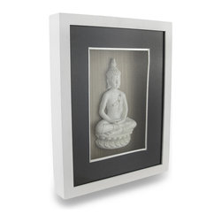 Zeckos - Meditating Buddha Shadow Box Wall Sculpture 8 x 10 In. - Made from wood and glass, this shadow box wall sculpture features a cast resin rhinestone accented Buddha sitting on a Lotus flower meditating with his hands in Dhyana mudra. The energy created by the triangle of this hand gesture circles and promotes cleansing of impurities. Connect to the energy of deep space and serenity when you look upon Buddha hanging on your wall in your meditation room, in the center of your home, or in the study. Measuring 8 inches (20 cm) wide, 10 inches (25 cm) wide and 1 3/8 inches (3 cm) deep, it easily mounts using the attached hanger on the back. It makes a wonderful gift for both friends and family sure to be admired