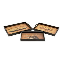 "BZBZ62202 - Leather on Wood Serving Tray Hand Painted Set of 3 - Leather on Wood Serving Tray Hand Painted Set of 3. Wood and leather tray with hand painted patterns of orient. Dimension: Large Tray 19""W x 3""H x 14"" L, Medium Tray 17""W x 2""H x 12""L and small tray 16""W x 1.5""H x 10""L. Great for serving use or decorative set."