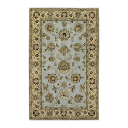 "Couristan - Castello Sky Blue Rug - 42810120, Size: 8'0"" x 10'0"" - The perfect complement to today's transitional decor trends, the Castello Collection features an array of sophisticated designs that utilize classic Persian motifs in a completely updated fashion. With fresh colors, like Jade, Sky Blue and Latte, these regal patterns are translated into modern-day luxuries that feel elegant, and yet are not overly formal. Paying homage to European royal history, Castello's area rugs have been given stately names - including Westminster, Tudor, Guinevere and Aragon - offering a nod to the classic influences that are prevalent throughout this beautiful collection. Showcasing an intricate hand-crafted construction, the lush cut-pile surface is made of a durable New Zealand wool blend with natural viscose highlights that bring dimension to each detail. A practical choice for busy interior settings, wool is a high-quality fiber that is resistant to water-based stains and easy to clean. Wool also has an inherent texture that gives it resilience under the pressure of foot traffic and heavy furniture. With so many desirable attributes, from versatile aesthetics to fine artisan craftsmanship and premium materials, the Castello Collection delivers true value and style."