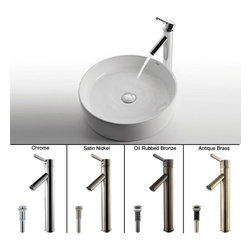 Kraus - Kraus White Round Ceramic Sink and Sheven Faucet - Refresh your bathroom with this stunning bathroom faucet and sink from Kraus. This set features a ceramic sink with an above-counter design and a Sheven faucet available in your choice of chrome, satin nickel, oil-rubbed bronze, or antique brass.