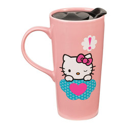 Hello Kitty - Hello Kitty Stars 20-Oz. Ceramic Travel Mug - This charming dishwasher- and microwave-safe travel mug will always add a nostalgic smile to a sip of chamomile or French Roast thanks to its friendly Hello Kitty design.   Includes one mug Holds 20 oz. Ceramic Microwave- and dishwasher-safe Imported