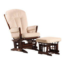 Dutailier - Dutailier 2 Post Glider and Ottoman Set in Coffee and Light Beige - Dutailier - Gliders & Rockers - C0182B623093 - About This Product: This Two Post glider and ottoman combo offers an exceptionally smooth and extra long glide motion with thick cushions and padded arms. The mechanism locks the glider in 6 different positions and makes it easier to sit in or step out of the glider. It will be the perfect addition to your child�s nursery or living room. There are no sharp edges, the finish is toxic free and this product meets all safety standards.