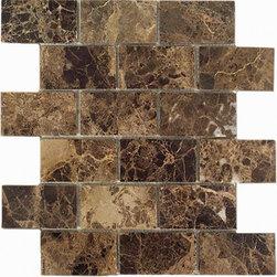 Emperador dark polished 2x4 Brick pattern stone mosaic - Emperador dark polished 2x4 stone brick pattern mosaic.