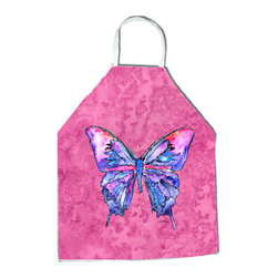"Caroline's Treasures - Butterfly on Pink Apron - Apron, Bib Style, 27""H x 31""W; 100% Ultra Spun Poly, White, braided nylon tie straps, sewn cloth neckband. These bib style aprons are not just for cooking - they are also great for cleaning, gardening, art projects, and other activities, too!"