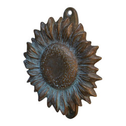 Sunflower Door Knocker - You never forget a first impression. Add presence to the front door with our Sunflower Door Knocker. Made of bronze and hand painted verde patina. Measures 4″ by 6″