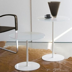 "Max Coffee Table - Small table with central chromed or varnished tube. Top in extralight tempered painted glass Ø 19.7"" (.39"")"