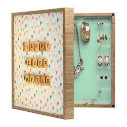 DENY Designs - Happee Monkee Happy Ever After BlingBox Petite - Handcrafted from 100% sustainable, eco-friendly flat grain Amber Bamboo, DENY Designs BlingBox Petite measures approximately 15 x 15 x 3 and has an exterior matte cover showcasing the artwork of your choice, with a coordinating matte color on the interior. Additionally, the BlingBox Petite includes interior built-in clear, acrylic hooks that hold over 120 pieces of jewelry! Doubling as both art and an organized hanging jewelry box, It's bound to be the most functional (and most talked about) piece of wall art in your home! Custom made in the USA for every order.