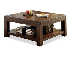 Riverside Furniture - Castlewood Square Cocktail Table - Fixed bottom shelf.