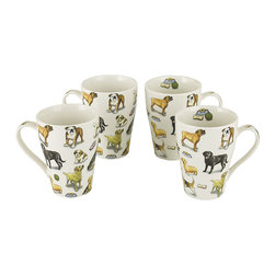 Cardew Design - Man's Best Friend Bone China Mug - Set of Four - Perfect for tea lovers of all ages, this charming set serves up Earl Grey with a dash of whimsy. Featuring very fine bone china construction, they remain super sturdy and easy to clean. �� Includes four mugs Holds 15 oz. Porcelain Hand wash Imported