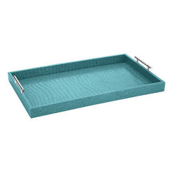 Faux Croc Aqua Tray - This versatile and modern tray would look good in any space and add a great pop of color.
