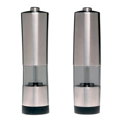 Berghoff - Berghoff Geminis Electronic Salt and Pepper Mill - 18/10 stainless steel electric salt and pepper mill. Battery powered (4) AAA-Batteries, not included. The rubber underside serves as a an anti-skid layer to provide you with more stability.