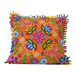 Hand-embroidered Pillow made in Peru, Orange - Add a blast of hand-crafted color to your interior with these magnificent hand-embroidered pillows of alpaca wool from Peru.  The colors and needlework are unsurpassed!