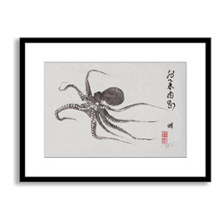 Gallery Direct - Dwight Hwang's 'Flying Octopus Calligraphy' Framed Paper Art, 30x23 - A nod to the traditional Japanese art of gyotaku, meant as a way to record a proud catch for fishermen, this print captures delicate detail of the actual fish. This striking print comes framed and matted with a three inch white mat. The perfect way to add character, depth and value to your room, it is printed using the highest quality materials. Arrives ready to hang.