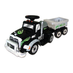 New Star - New Star Mack Truck with Trailer Battery Powered Riding Toy - Black - MKT-6V - Shop for Tricycles and Riding Toys from Hayneedle.com! He makes the messes let him haul everything back to the toy bin! The New Star Mack Truck with Trailer Battery Powered Riding Toy - Black has a ride-on front and a open-storage trailer. This bright cool-looking truck moves at speeds that parents can handle going forward backward left and right via an easy rechargeable 6-volt battery. Playtime: 1-2 hours.