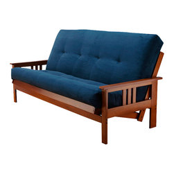 Kodiak Furniture - Monterey Barbados Futon Frame with Futon Mattress in Suede Navy, Without Full Dr - Add bright colors to your living space with this unique futon set. It consists of solid wood frame in Barbados finish and innerspring mattress in Suede Navy cover. You can choose the set with or without drawers.