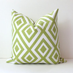 Geometric Kiwi Green Decorative Designer Pillow Cover by Whitlock & Co. - The crisp green and white pattern on this pillow would be a real showstopper on a light-colored armchair.