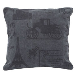 Benzara - Delightfully Designed Fabric Pillow with Smooth Texture - A perfect addition to your decor this fabric pillow is a classy addition to your interiors. Delightfully designed, this fabric pillow depicts a beautiful print on a grey colored fabric. The fabric offers great relaxing comfort with its smooth texture. It showcases great workmanship with its innovative design of Eiffel tower and a vintage car on it. Easy to wash and maintain, this pillow is crafted from premium cotton fabric which renders it durability. Made of quality fabric, this square shaped pillow is the best value you will have in re-doing your living space. Bring this home and leave a lasting impression on your guests..
