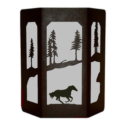 Wildlife Decor LLC - Sconce Wall Light with Open Sides, Wrinkle Black, Galloping Horse - The open sided lights give off more light and have stained glass panels on both sides.