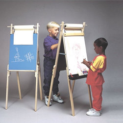 Martin Universal - Martin Universal Kids Dual Art Center Easel - U-9102 - Shop for Art Easels from Hayneedle.com! The Weber Kids Dual Art Center Easel is a smart buy for an educational facility or anyone with kids at home. It was designed and stocked with creativity in mind. The Dual Art Center Easel is crafted of natural blond hardwood for durability and beauty. It is double-sided with a classic chalkboard and dry-erase board. This easel comes with a paper roll to get you started. It even has a supply tray and painting trough to keep all the supplies in. It adjusts from 48 to 51.5 inches and is recommended for ages 4-10. After some minor assembly this easel is ready for fun. About Martin Universal Design Inc.Over 40 years ago Dennis Kapp founded Martin Universal Design Inc. which incorporated the wholesale importing and manufacturing of Northwest Blue Print the company Mr. Kapp's father founded in 1946. The Kapp family then purchased a business started by Ray Martin who was the first designer and crafter of drafting templates in the United States. Since then the family has been carrying on the tradition of creating high-quality artist accessories and furniture. Today Martin Universal Design Inc. supplies the art industry with a complete range of quality artist accessories drafting tables materials and tools.
