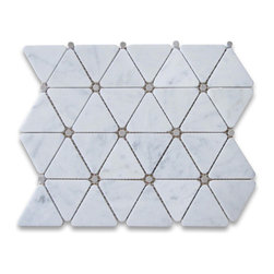 Stone Center Corp - Carrara White Marble Triangle Mosaic Tile Gray Dots 2 3/4 inch Polish - Premium Grade Triangle White Carrara Marble Mosaic tiles. Italian Bianco Carrera White Venato Carrara Polished 2 3/4 inch Triangle Mosaic w/ Gray Round Dots Wall & Floor Tiles are perfect for any interior/exterior projects. The Carrara White Marble Triangle Mosaic tiles with Grey Dots can be used for a kitchen backsplash, bathroom flooring, shower surround, countertop, dining room, entryway, corridor, balcony, spa, pool, fountain, etc.