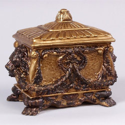 AA Importing - Decorative Box with Lion Head & Garland Desig - Look closely or you might miss some of the incredible artistic details featured on this handsome decorative box.  From the paw foot base to the lions' head accents, every inch of this amazing box is covered with elegant design.  The faux croc surface features a brilliant gold painted finish with bronze tone accents for an elegant antique look.  The finial style handle makes it easy to open, to fill with whatever your heart desires. Hand painted Gold-tone finish resin with Antique Bronze finish accents. Features lion head and garland design. Removable lid. 8 in. L x 4 in. W x 6 in. H