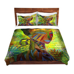 DiaNoche Designs - Duvet Cover Twill - African Queens - Lightweight and soft brushed twill Duvet Cover sizes Twin, Queen, King.  SHAMS NOT INCLUDED.  This duvet is designed to wash upon arrival for maximum softness.   Each duvet starts by looming the fabric and cutting to the size ordered.  The Image is printed and your Duvet Cover is meticulously sewn together with ties in each corner and a concealed zip closure.  All in the USA!!  Poly top with a Cotton Poly underside.  Dye Sublimation printing permanently adheres the ink to the material for long life and durability. Printed top, cream colored bottom, Machine Washable, Product may vary slightly from image.