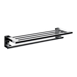 "WS Bath Collections - System 3568.001.60 Towel Rack with Bar 25.6"" - System 3568.001.60, 25.6"" x 9.1"" x 4.0"", Towel Rack in Polished Chrome"