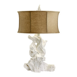 Kathy Kuo Home - Bleached White Modern Driftwood Linen Shade Table Lamp - The organic, flowing shape of driftwood is captured in pristine white plaster and brought beautifully to life as a sophisticated table lamp.  A raw cotton shade adds a an earthy touch to this strong, sculptural piece.