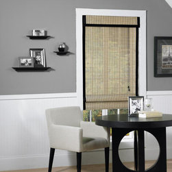 None - Riviera Natural/ Black Banding Bamboo Roman Shade - The Riviera Bamboo Roman Shade offers light filtering properties and a natural and black finish. This Roman shade is energy-efficient and includes all the necessary hardware for easy installation.