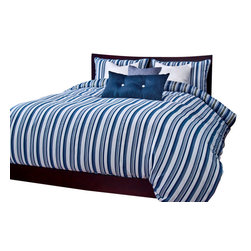 SIS Covers - SIS Covers Beachcomber Stripe Blue Duvet Set - 5 Piece Twin Duvet Set - 5 Piece Twin Duvet Set Duvet 67x88, 1 Std Sham 26x20, 1 16x16 dec pillow, 1 26x14 dec pillow. 6 Piece Full Duvet Set Duvet 86x88, 2 Std Shams 26x20, 1 16x16 dec pillow, 1 26x14 dec pillow. 6 Piece Queen Duvet Set Duvet 94x98, 2 Qn Shams 30x20, 1 16x16 dec pillow, 1 26x14 dec pillow. 6 Piece California King Duvet Set Duvet 104x100, 2 King Shams 36x20, 1 16x16 dec pillow, 1 26x14 dec pillow6 Piece King Duvet Set Duvet 104x98, 2 Kg Shams 36x20, 1 16x16 dec pillow, 1 26x14 dec pillow. Fabric Content 1 80 Polyester 20 Cotton. Guarantee Workmanship and materials for the life of the product. SIScovers cannot be responsible for normal fabric wear, sun damage, or damage caused by misuse. Care instructions Machine Wash. Features Reversible Duvet and Shams.