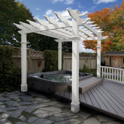 Grandin Road - Liberty Pergola - Polyvinyl construction will not fade or deteriorate in the elements. Never needs a fresh coat of paint. Spray clean with a garden hose. Charming design for the deck, hot tub or garden patio, our Liberty Pergola is elegant outdoor decor. Experience outdoor living like never before with this classical pergola design. Provides the perfect amount of shade from the sun.. . . Assembly required.