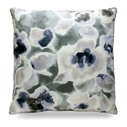 "Florinda Pillow - Pearl - 24"" - Glistening and opulent in its pearl floral pattern, the Florinda Pillow is an ideal pick for a nautical or coastal theme when a softer look is needed. Perfect for a guest bedroom that is full of blue hues."