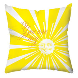 Checkerboard Ltd - Sunshine Decorative Throw Pillow - You are my sunshine in vibrant yellow and coordinating white and orange. Back in coordinating dotted pattern.  Our softly textured fabric is long-lasting, wrinkle-resistant and feels as great as it looks.