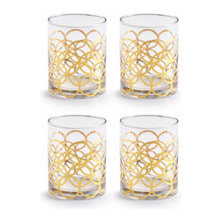 Rosanna - Rosanna La Cite Dof Glasses - Set Of 4 - From the La Cite Collection by Rosanna, these gold trimmed double old-fashion glasses add old-fashioned cocktail glamour to your tablescape, bar cart or cocktail party. Trimmed in 24KT gold.