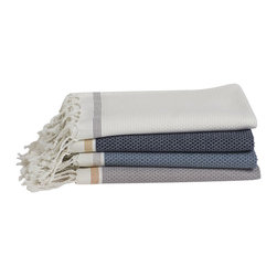 Coyuchi - Organic Cotton Mediterranean Towel, Deep Dusty Aqua W/Deep Pewter, Bath Towel - In Turkey, where bathing has been raised to an art, khadi is the traditional choice for toweling. Lightweight and textural, the weave absorbs well, dries quickly and feels great against the skin. Our khadi towels are loomed from soft organic cotton in yarn-dyed stripes and edged in hand-knotted fringe.